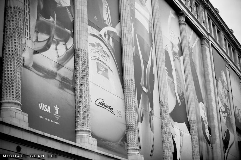 visa ads on the hudson bay company store on georgia st vancouver