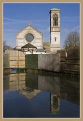 Reflecting St Barnabas (Lawrence OP) Tags: reflection tower church canal campanile oxford jericho romanesque stbarnabas arthurblomfield