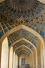 Nasir-al-Mulk Mosque - arches of worship hall, Shiraz Iran