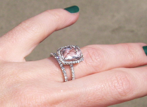 pave diamond wedding bang pink stone