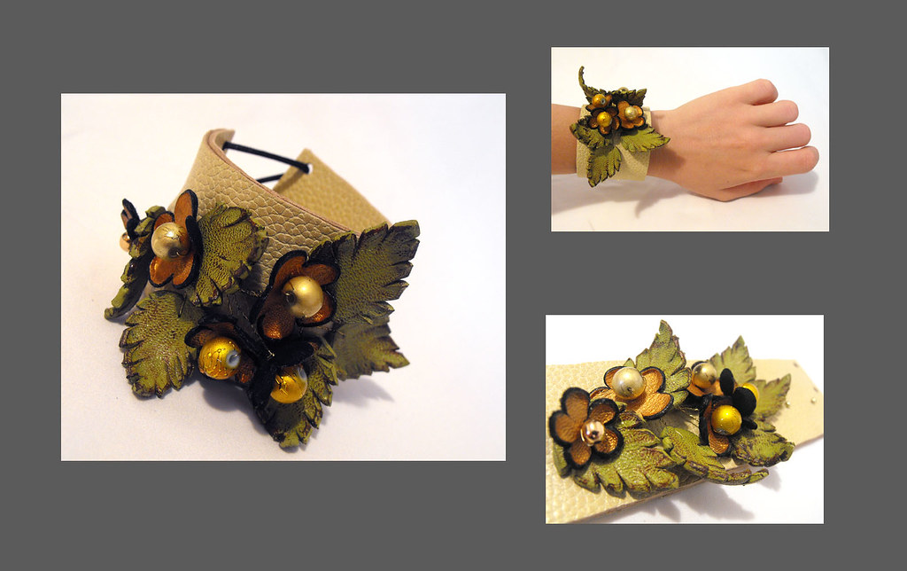Leather flowers cuff bracelet. Leather wristband. Beige
