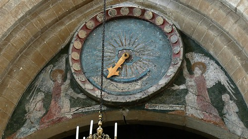 Medieval painted clock face, Raunds, Northamptonshire