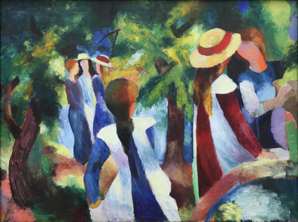 August Macke, Mädchen unter Bäumen [Girls under trees], 1914