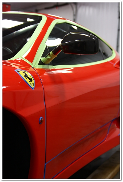Ferrari Challenge Stradale taped for detail