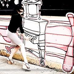 06 :: 31 (sweethardt) Tags: musician woman selfportrait female graffiti sandals piano skirt brunette wedge