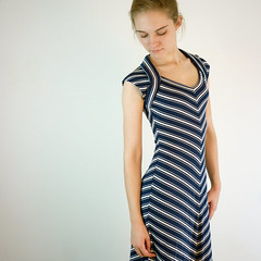 Vintage Chevron Striped Dress