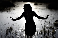 day eighty nine. (geewillikersjett) Tags: black girl silhouette ballerina dancing skirt swamp around decolorized iphotooriginal