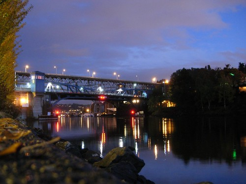 Fremont Bridge, just past Dusk