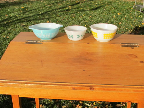 Our vintage bowls on our antique desk