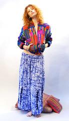 Boho Vibe Outfit (TavinBoutique) Tags: girl fashion vintage shopping losangeles outfit clothing model photoshoot pants embroidery indigo pillows jacket indie hippie etsy textiles echopark multicolored ethnic bohemian batik tyedyed gypset