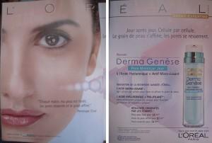 Publicité Derma genèse, LOréal, in Biba, avril 2009