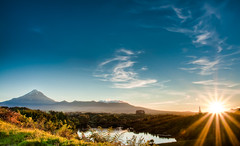 Going The Extra Mile (Mark Solly (F-StopNinja)) Tags: sunset newzealand sky mountain lake grass clouds landscape haze bush mt top line ridge mount vista ferns taranaki egmont mangamahoe nikond90 tamron18270mm