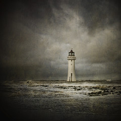 Last man standing... (jetbluestone) Tags: sea cloud lighthouse texture beach weather mood newbrighton perchrock