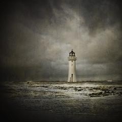 Last man standing... (jetbluestone) Tags: sea cloud lighthouse texture beach weather mood newbrighton perchrock