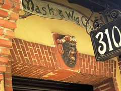 mask and wig club (moocatmoocat) Tags: street detail philadelphia face club mask architectural wig drama quince