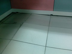 Earthquake damage to the floor of the office after 2009.12.19 earthquake