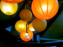 Chinese Lanterns at Guglhupf (mobile) (Mark Branly) Tags: blue orange green lights cafe orbs 2010 iphone chineselanterns guglhupf photoshopmobile