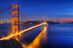 Golden Gate Glow (David Shield Photography) Tags: sanfrancisco california longexposure sunset color reflection water goldengatebridge bayarea sausalito marinheadlands coth mywinners goldmedalwinner flickraward nikond700 goldstaraward platinumpeaceaward