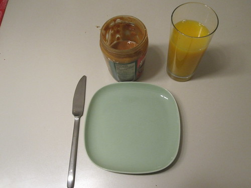 PB toasts, orange juice