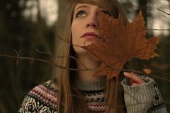 1/28 Whisper. (flore .) Tags: wood winter portrait selfportrait girl forest dead leaf autoportrait automn fort bois feuille deadleaf feuillemorte