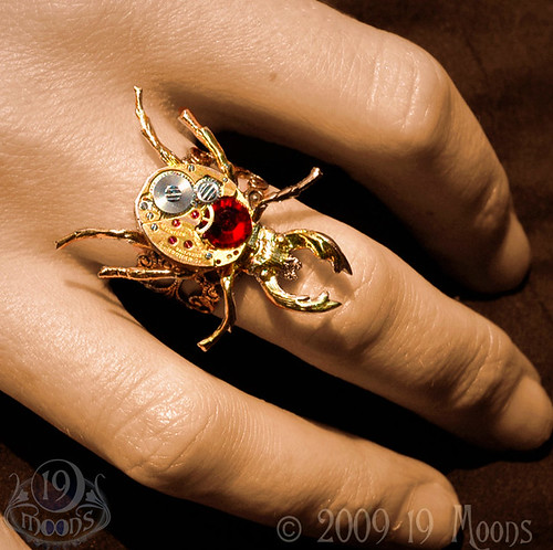 RUBY BEETLE MECHANIQUE Vintage Watch Ring by 19 Moons Steampunk GOLD SCARAB CLOCKWORK