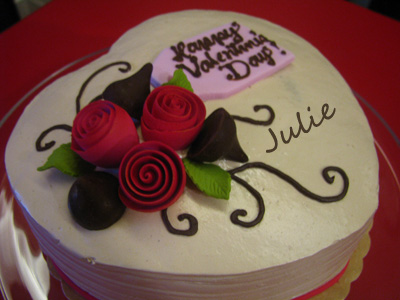 Roses and Kisses Cake, Red Ribbon Valentine's Day Cake