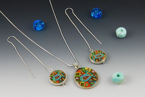 Blue Fish Pendant and Earrings