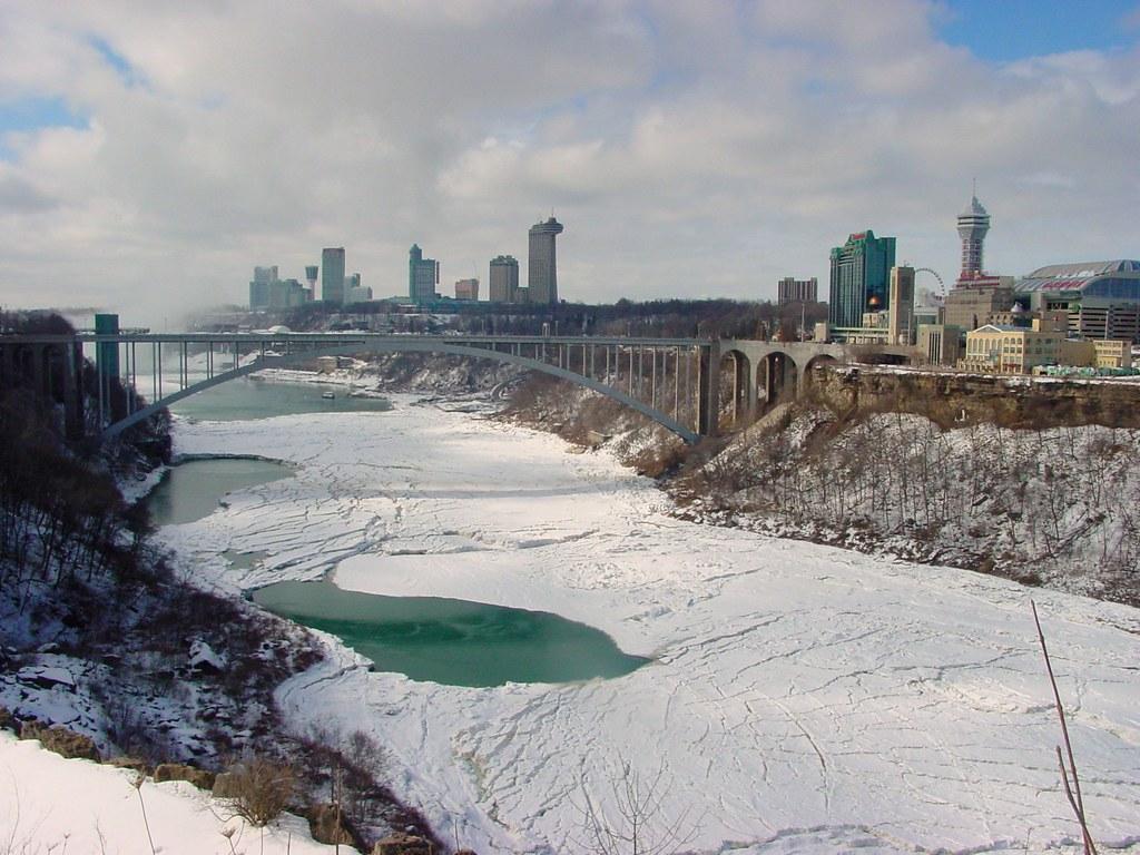 Rainbow Bridge & Niagara Falls, Ontario - seen from The Niagara Gorge Discovery Center
