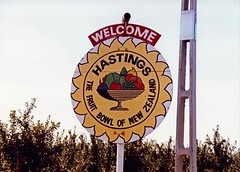 Hastings New Zealand Town Name Sign (1991)