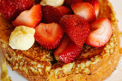 Brioche French Toast (ralph and jenny) Tags: christmas nyc newyorkcity food holiday newyork breakfast hotel strawberry berries strawberries roomservice briochefrenchtoast nikond90 jumeirahessexhouse af60mmf28g