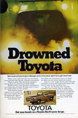 Drowned Toyota - 1975 (Nesster) Tags: auto car vintage magazine print automobile ad advertisement advert toyota 1975 70s nationalgeographic getyourhandsonatoyotayoullneverletgo