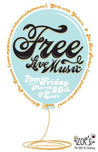 ZOE'S - Free Live Music Poster [12 of 52]