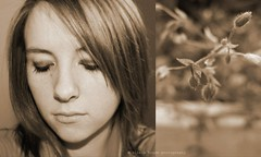 12/52. Sweet dream or a beautiful nightmare. (olivia house) Tags: flowers portrait people woman selfportrait plant canada flower macro cute art love me nature girl beautiful beauty field grass closeup sepia portraits canon newfoundland outside outdoors happy person rebel march nice model eyes women focus diptych pretty dof photoshoot olivia artistic bokeh gorgeous creative makeup portraiture blonde stunning xs lovely eyeshadow selfphoto depth 2010 week12 52weeks 1252 1000d oliviahouse