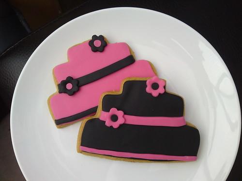 Pink and Black Wedding Cookies