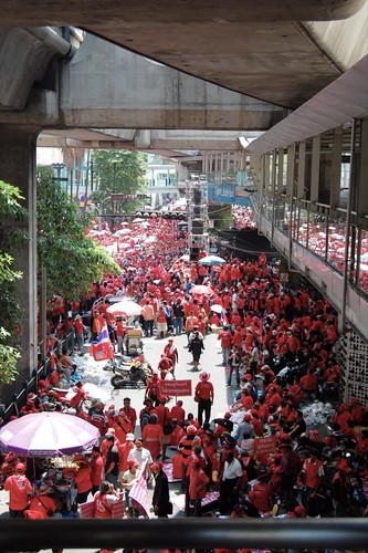 Red shirt protesters at Rajaprasong intersection