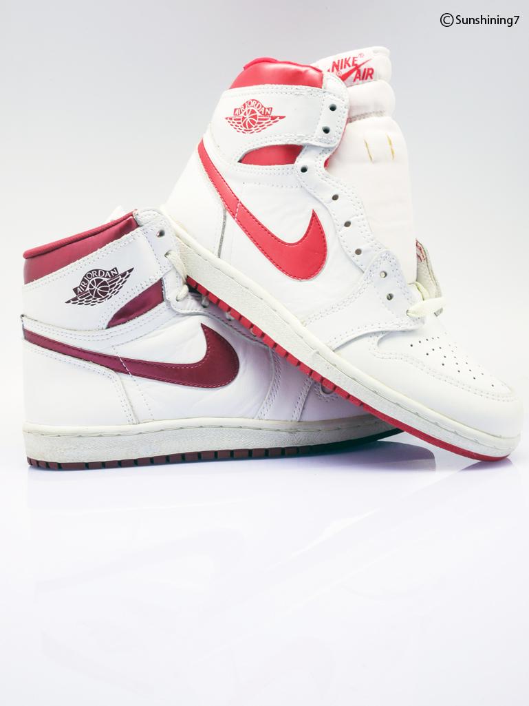 7bab2c6cc07 ... sunshining7 air jordan 1 1985 white red & white burgundy metallic