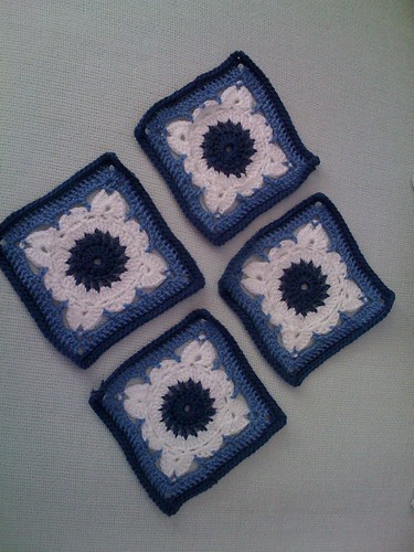 4 Blue and White Squares for the 'SIBOL' project from Marg in Australia. Thank you!