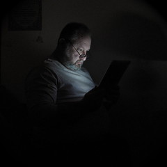 Man and iPad (Tojosan) Tags: selfportrait apple canon wednesday square reading is powershot livingroom 365 tablet squared day97 ipad take3 tojosan toddjordan sd780 toddrjordan