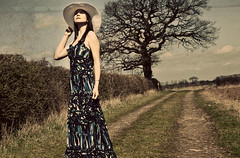 Self Portrait (Courtney_Louise) Tags: old portrait woman sun tree girl hat sepia self vintage long branch dress warmth maxi