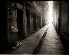 Light in the lonely street (Andreas Ulvo) Tags: barcelona street light film analog photography spain nikon analogue fm2
