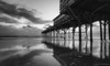 Sunglow Pier #5. (Samuel Santiago) Tags: pier longexposure mar shadows waves sunglowpier daytonabeach florida morning blackandwhite digital volusiacounty canon5dmkii canonef1740mmf4l lightroomcc googlenikcollection colorefexpro4 sea clouds