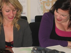 Aine and Grainne going over dialog at the readthrough