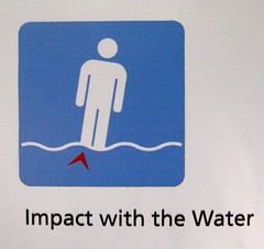 Lynn Canyon Park: Impact with the Water (rorytait) Tags: park signs water danger warning foot funny humour canyon lynn impact stick figures peril