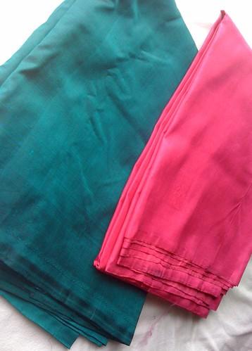 Vivid green and pink silk