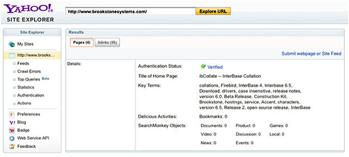Yahoo! Site Explorer update page metadata