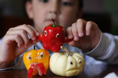 we  made veggie tale halloween monsters