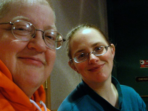 Rebekah & me at our midnight write-in kickoff at Dennys for NaNoWriMo 2009.