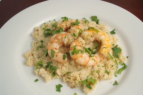Shrimp Over Roasted Cauliflower Puree