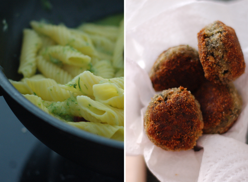 Courgette Pasta with Spinach Balls