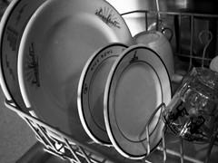 Dish Drainer  Tan Dishes in Black & White (prima seadiva) Tags: restaurantware stilllife dishes blackwhite dishdrainer restaurantchina tan tanbody vintage bw blackandwhite